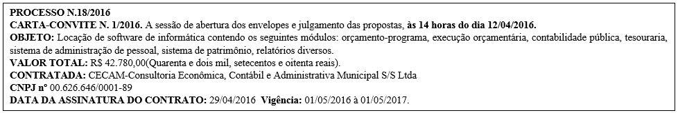 Carta-Convite nº 1/2016