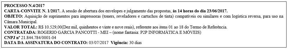 Carta-Convite nº 1/2017