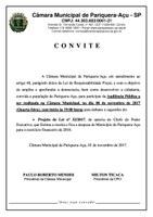 CONVITE PARA AUDIÊNCIA PÚBLICA DIA 08/11/2017