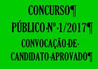 Convocação de candidato aprovado no Concurso Público nº 1/2017
