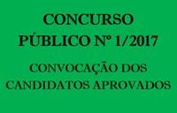 Convocação dos candidatos aprovados no Concurso Público nº 1/2017