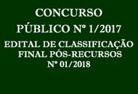 Edital de Classificação Final Pós-Recursos nº 01/2018