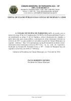 Edital de Exame Público das Contas Municipais nº 1/2018